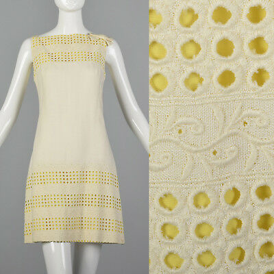 XS 1960s Peck & Peck Mod Shift Dress VTG Summer Outfit Casual Yellow Eyelet