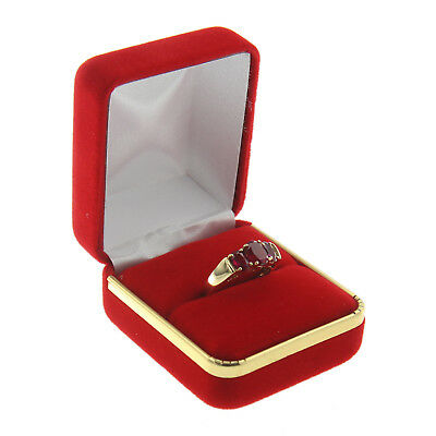(Red Velvet Engagement Ring Box Display Jewelry Gift Box Gold Trim Style)