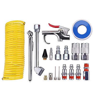 "1/4"" NPT Air Compressor Accessory Tool Kit,25Ft Coil Nylon Hose/Tire Gauge-20 PC"