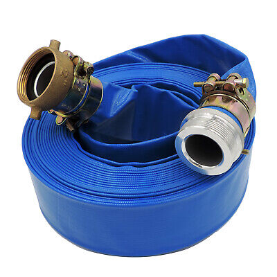 2 X 100 Heavy Duty Pvc Lay Flat Water Discharge Hose With Pin Lug Connector