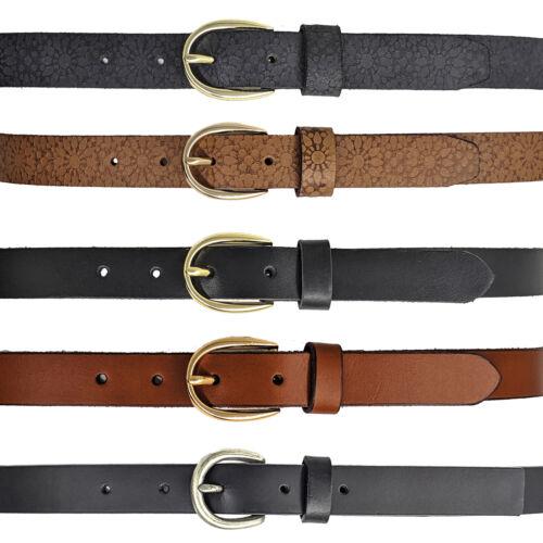 Women Belts Full Grain Genuine Leather Black Brown Skinny Thin Ladies Belt