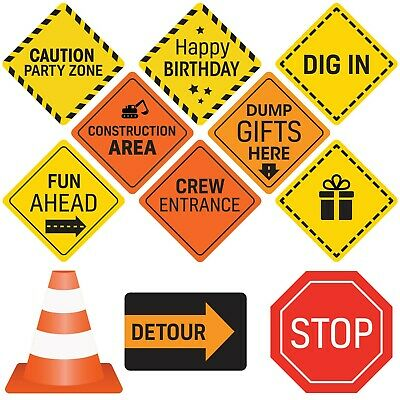 Construction Birthday Party Signs 12 Double Sided Medium Size Traffic Signs](Party Signs)