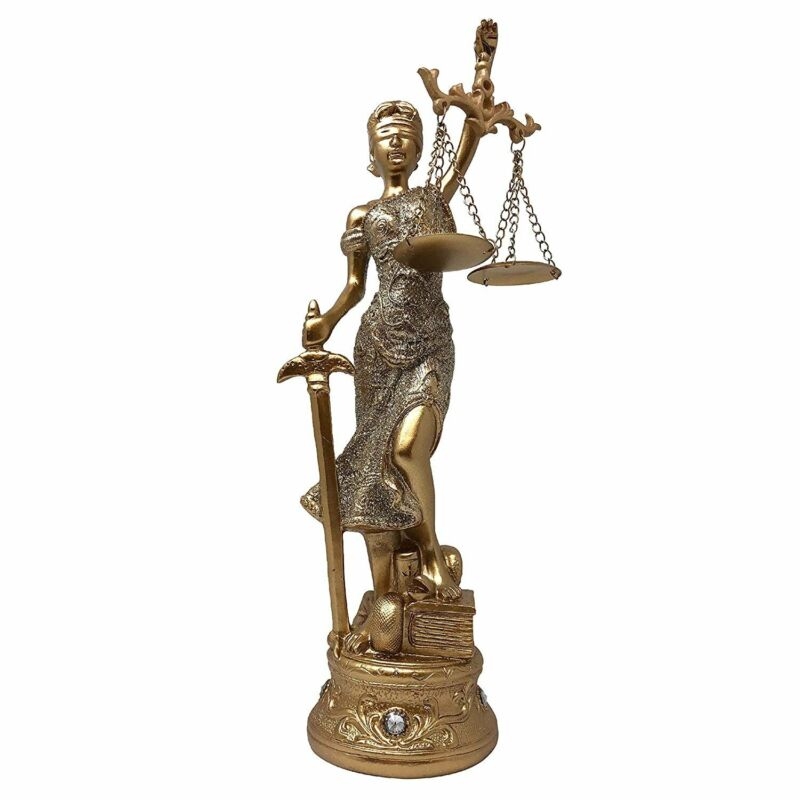 Golden Lady Justice Statue Bronze Home & Office Use - Accented Base with 4...