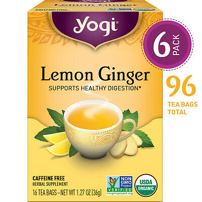 Yogi Tea - Lemon Ginger - Supports Healthy Digestion - 6 Pack, 96 Tea Bags (Yogi Ginger)