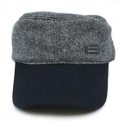 Shimano Tweed Work Cap grau/schwarz Military Army Flat Cap Wolle
