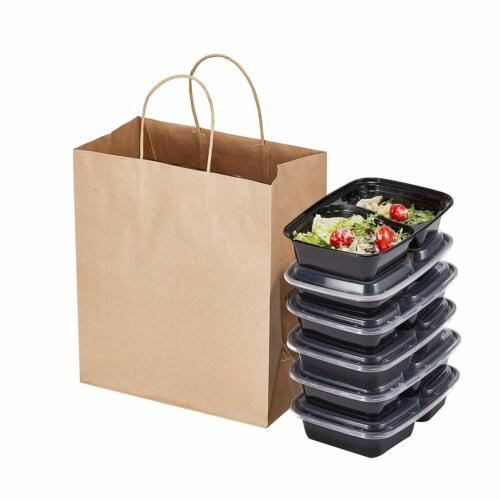 """Bag Kraft paper shopping bag 12""""x7""""x14"""" Large with handle Case of 25 counts"""