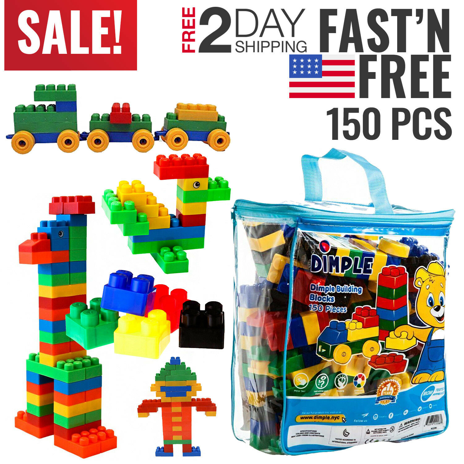 Toddler Toys Boys Baby Building Block Set 150 pc Toy for Kids