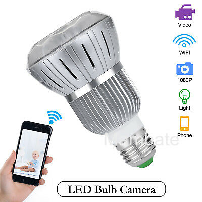 HD 1080P WiFi Wireless Hidden Spy Bulb Light  IP Network Camera Motion Detection