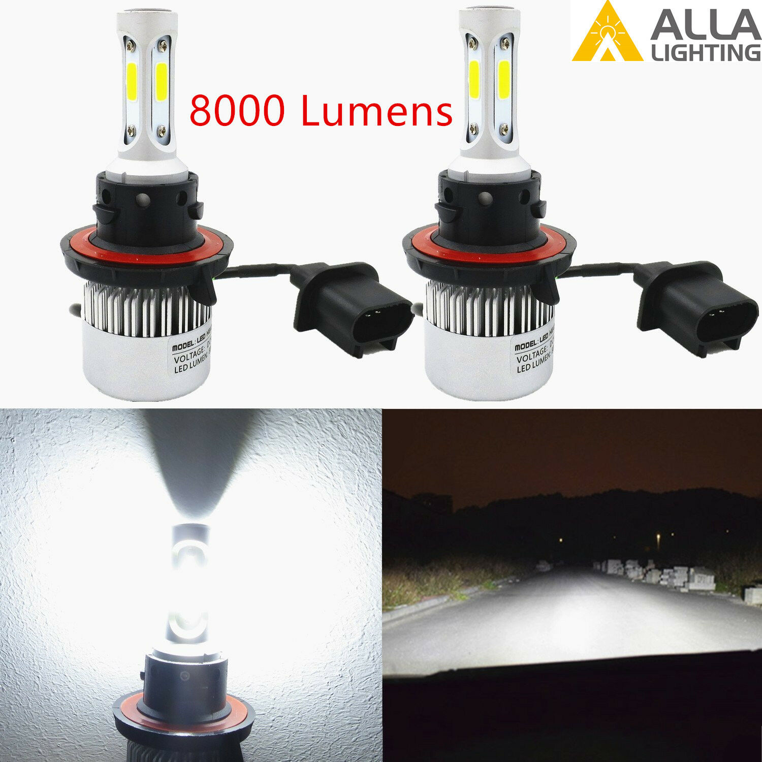 Alla Lighting X3 LED H13 Headlight High & Low Beam Light Bulbs Lamps Xenon White