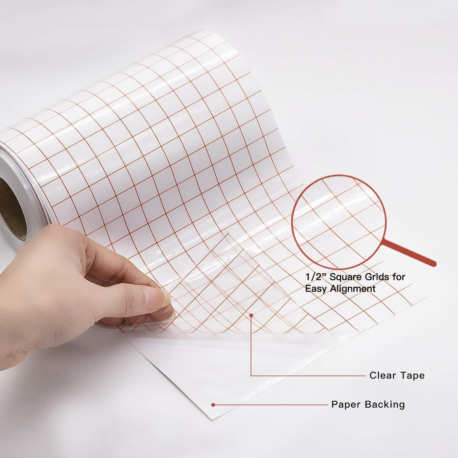 Clear Vinyl Transfer Paper Tape Roll, w/Red Alignment Grid,