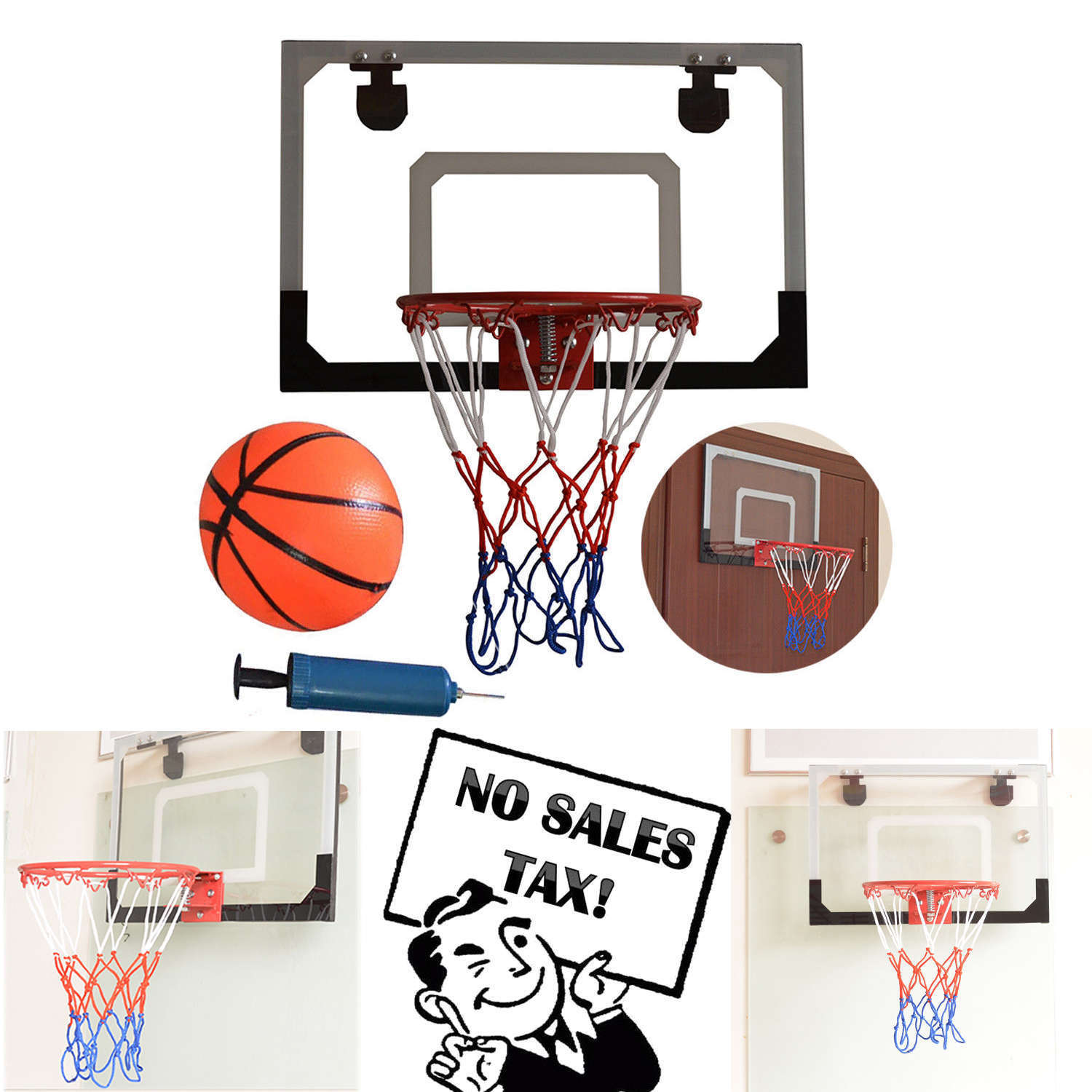 2aa8df8ba98 Mini Basketball Hoop System Kids Goal Over The Door Wall Indoor Sports with  Ball