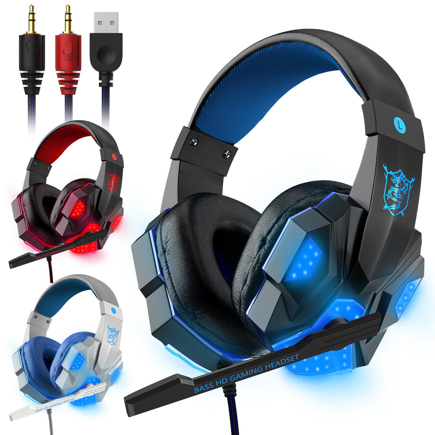 Stereo Gaming Headset Mic LED Headphones Earphone 35mm Surround PC Xbox One PS4