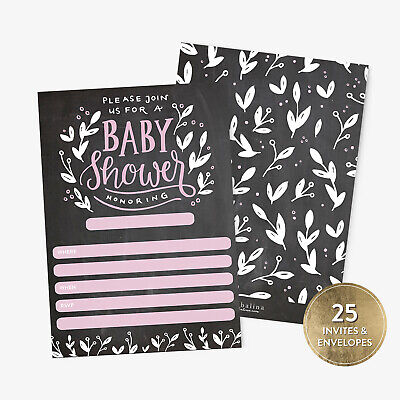 Pink Baby Shower Invitations (25 Baby Shower Invitations Girl with Envelopes Pink Handlettered)