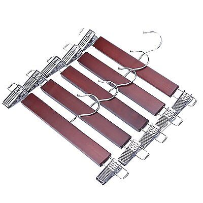5 Pack Walnut Finish Wooden Pant Skirt Hangers with 2-Adjustable Anti-Rust Clips