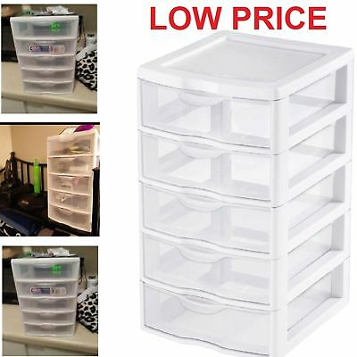 (5 Drawer Tower Plastic Organizer Storage Office Cabinet Box Furniture Dresser)
