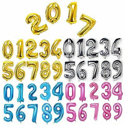 Giant Foil Balloons Number Shape Helium Wedding Birthday Party Christmas DIY 40