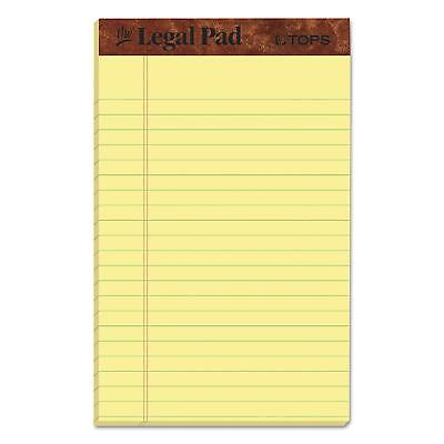 Tops Jr Legal Rule Writing Pads 5 X 8 Canary Paper 50 Sheet 12 Pack