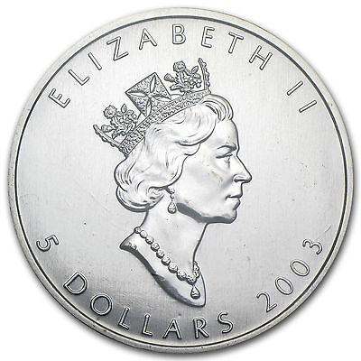 $5 2003 SILVER MAPLE LEAF BULLION COIN! 1oz .9999 SILVER RARE DATE! SEALED!