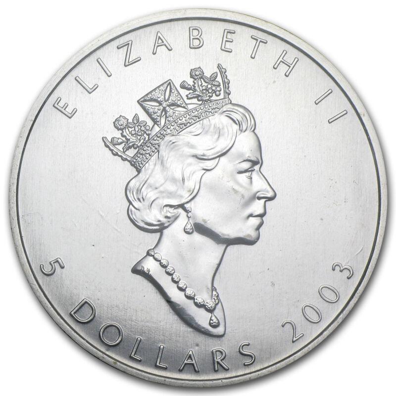 2003 Canada $5 Silver Maple Leaf 1oz .9999 Silver Rare Date! Sealed Bullion Coin