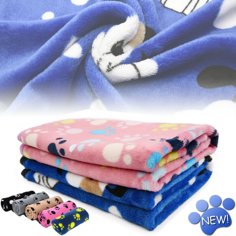Premium Flannel Pet Blanket Small Paw Print Cat Dog Puppy Warm Bed Mat Cushion