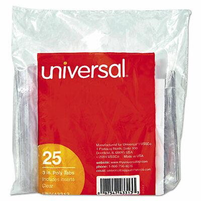 Universal Hanging File Folder Plastic Index Tabs 13 Tab Cut 3 Tab Clear 25