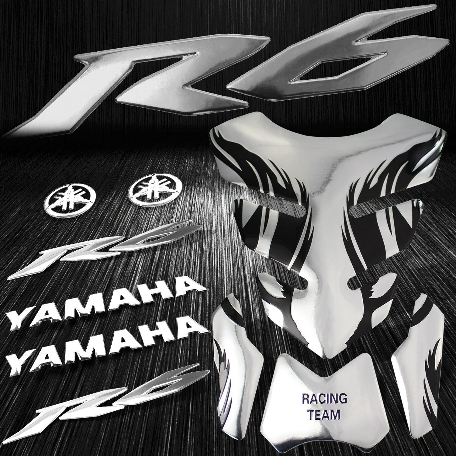 Details about chrome tribal fire gas fuel tank pad 6 3d logoletter for yzf r6 emblem sticker
