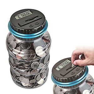 Pound Coin Digital LCD Counter Electric Money Saving Collecting Jar Piggy Bank