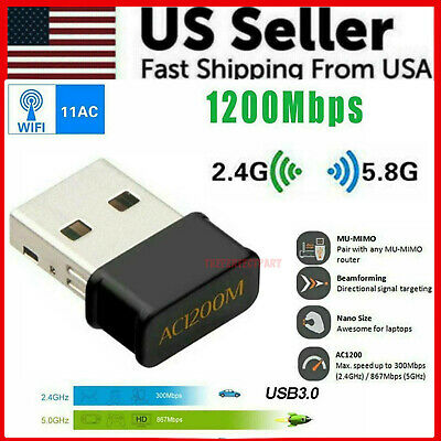 Wireless Lan USB PC WiFi Adapter Network 802.11AC 1200Mbps Dual Band 2.4G / 5G