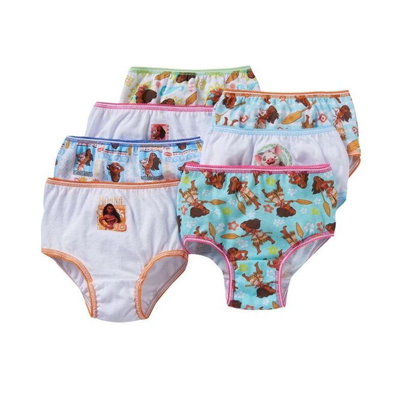 Disney Moana Girls Cotton Panties Underwear 7-Pack Toddler Sizes 2T/3T-4T, 6, 8