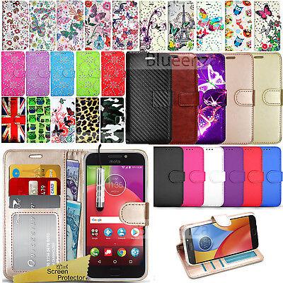 For Motorola Moto E4 E4+ Phone Case Wallet Leather Cover Flip Book Stylish Book
