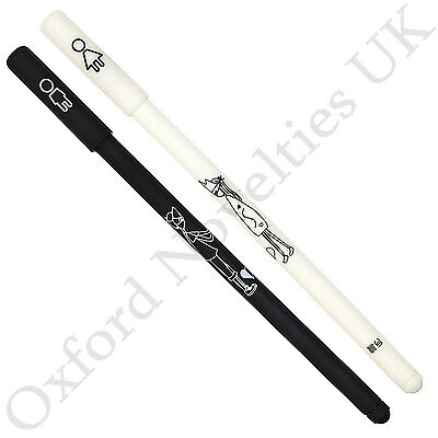 His & Hers 2 Thin Fineliner Pens ( Black & White ) Male & Female Symbol Pair