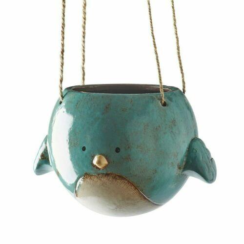 """Bluebird Hanging Planter Pot - Ceramic - 7"""" Diameter - Kalalou"""