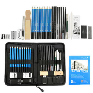 41pc Professional Drawing Artist Kit Set Pencils and Sketch Charcoal Art & Bag