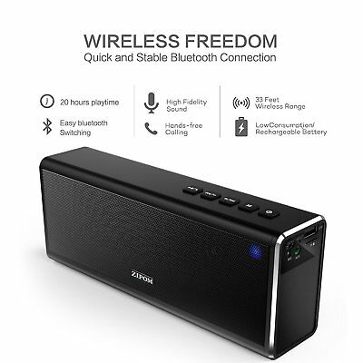 ZIPOM 20W 4000mAh Portable Wireless Bluetooth Speaker BASS TF USB Mic FM Radio