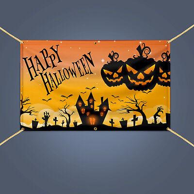 Outdoor Home Decor Scary Pumpkin HAPPY HALLOWEEN Vinyl Banner Sign, 3' X 2'