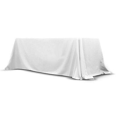 Trade Show Convertible Table Cover 6'-8' ft Stain Free Polyester Throw (White)