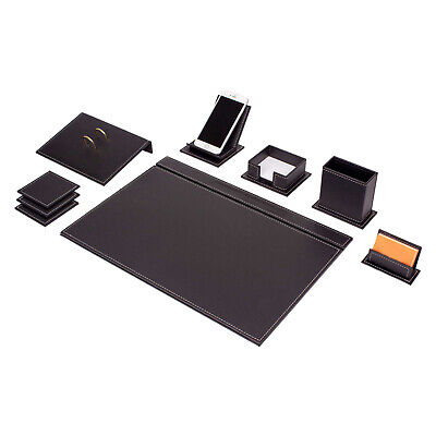 Desk Blotter Set Vegan 9 pcs high imitation leather Sewing White in black ()