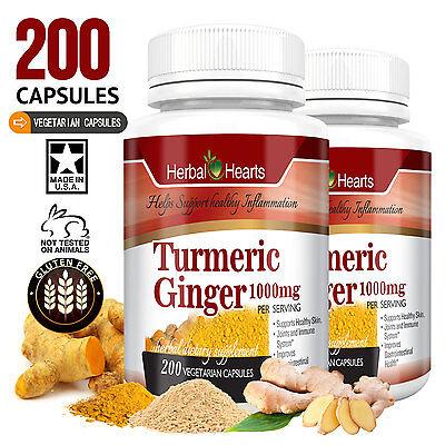 1 Turmeric And Ginger 1000Mg 200 Capsule High Strength  100  Organic