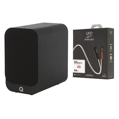 Q Acoustics 3010i Bookshelf Speaker Pair Black + QED Silver Anniversary XT Cable for sale  Atlanta