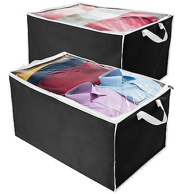 Jumbo Blanket Storage Bag, Breathable Storage Bag For Clothes - (2 Pack) Black