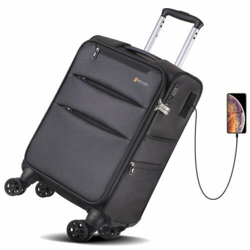 REYLEO Softside Spinner Luggage 20 Inch Carry On Luggage 8-Wheel Travel Suitcase