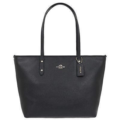 Coach F58846 IMBLK City Zip Tote Ink Black Crossgrain Leather Shoulder Bag NEW