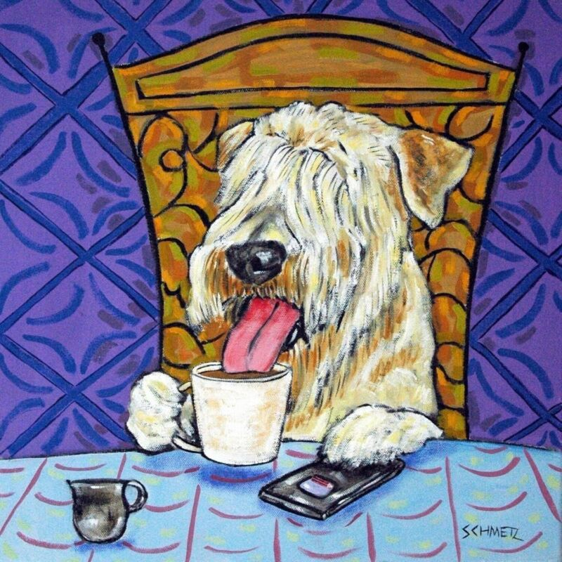 Soft Coated Wheaton Terrier coffee  dog art tile coaster gift