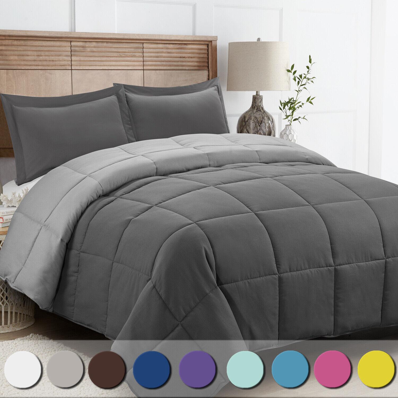 Down Alternative Comforter Twin Set Navy Blue 2 Piece Sham Reversible Bedroom For Sale Online Ebay