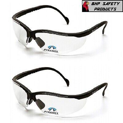 2 PAIR LOT Bifocal Safety Reading Glasses Clear Lens Reader ANSI Z87.1 Men (Bifocal Reading)