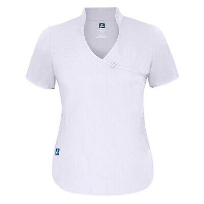 Adar Women Medical Nurse Uniform Asian Style Mock Wrap Crossover Scrub Top