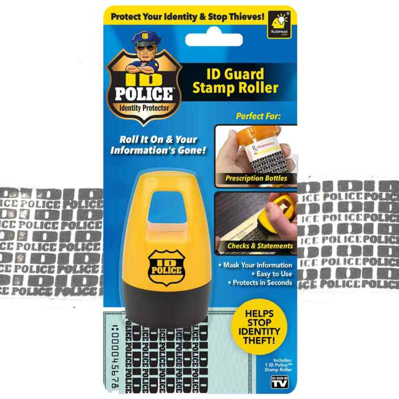 ID Police Identity Protection Roller Stamp by BulbHead - Helps Stop ID Theft