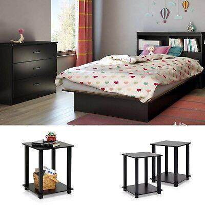 Bedroom Set Twin Size Black 2 Nightstands Modern Design Furniture Platform Bed