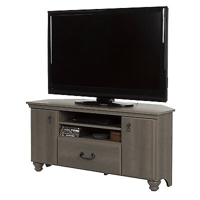 South Shore Noble Corner TV Stand in Gray Maple for TV's Up