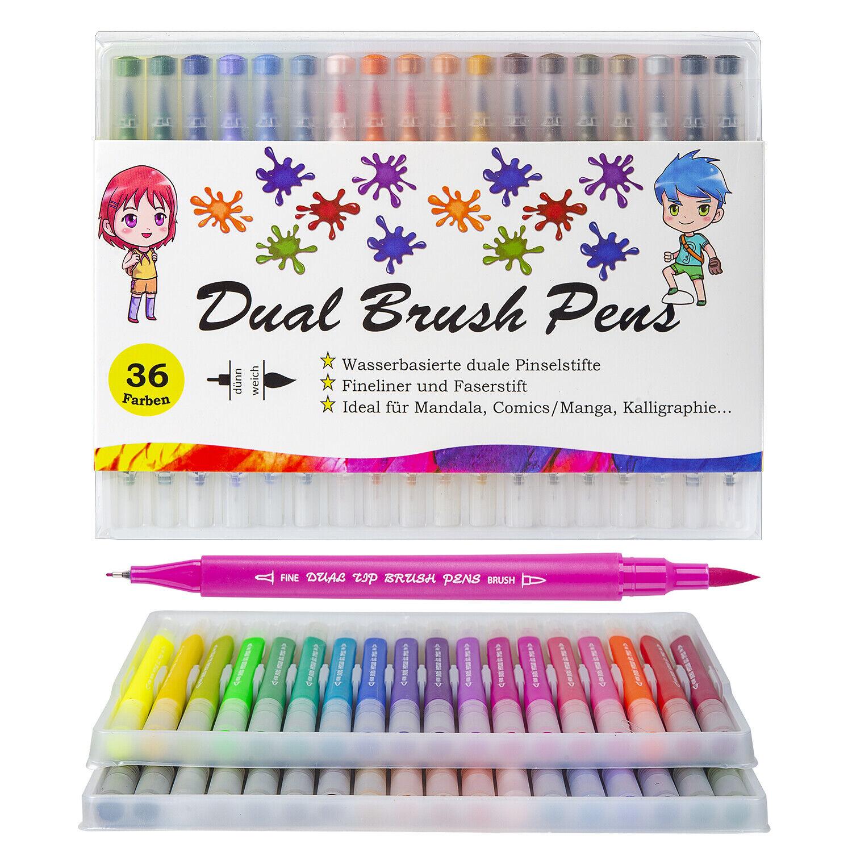 Pinselstifte Set 36 Aquarell Farben Kalligraphie Hand-Lettering Bullet Journal
